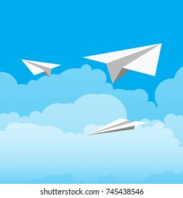 paper plane on the blue sky with clouds. vector illustration