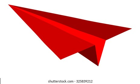 Paper plane on red background flat vector illustration.