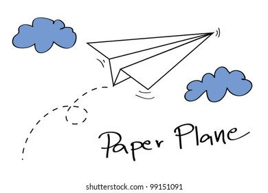 Paper plane on the sky with clouds - Vector