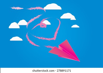 paper plane on the sky with fume shaped heart of love.