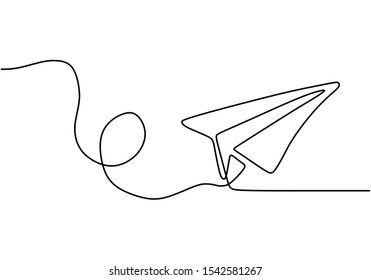 Paper plane one line drawing vector. Continuous single hand drawn business metaphor of creativity and freedom of craft airplane illustration minimalism.