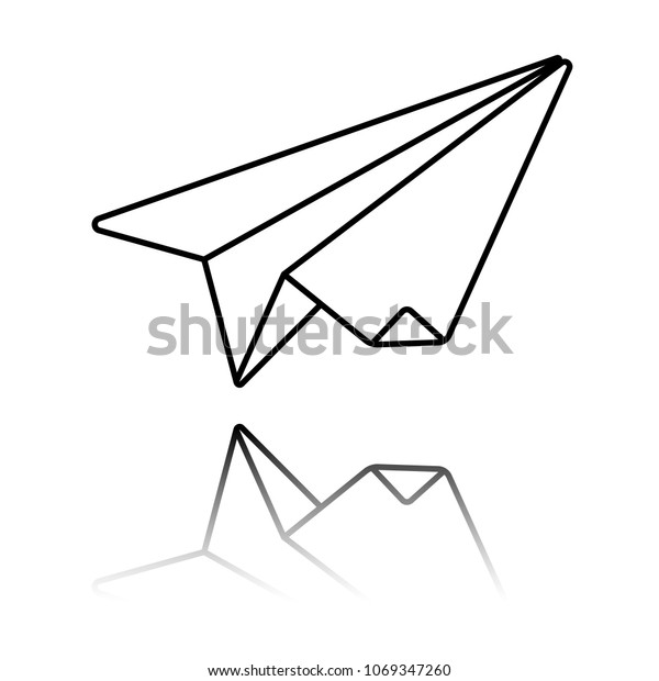 Paper Plane Origami Glider Black Icon Stock Vector (Royalty