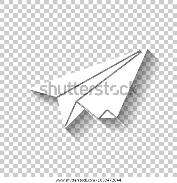 Paper Plane Origami Glider White Icon Stock Vector (Royalty