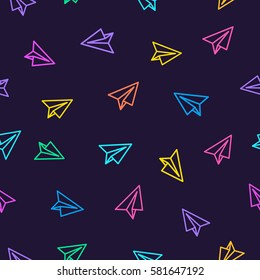Paper plane pattern colorful line style on dark purple background. Decoration element use for web site, textile and other. Vector Illustration