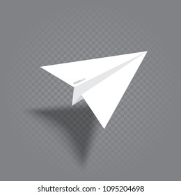 Paper plane with shade fly over gray transparent background. White origami airplane flight and leave shadow