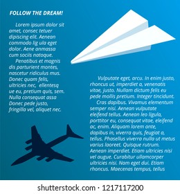 """Paper plane with shadow of real passenger airplane.Symbol of dreams and flight. Vector illustration with text """"Lorem ipsum"""" for posters and flyers. Concept of transport company business development."""