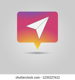 Paper plane share icon as Social media popup notification message window with sunset inspired background and drop shadow