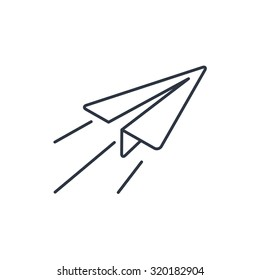 Paper Plane sign. Airplane symbol. Travel outline icon.