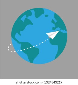Paper plane surround the earth on grey background