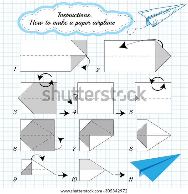 Paper Plane Tutorial Step By Step Stock Vector (Royalty Free