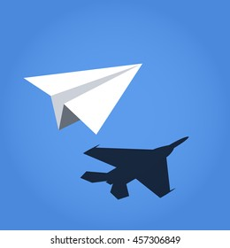 paper plane vector casting shadow jet fighter, concept vector illustration