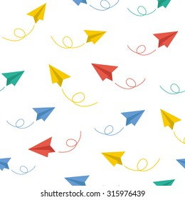 Paper plane vector seamless pattern background