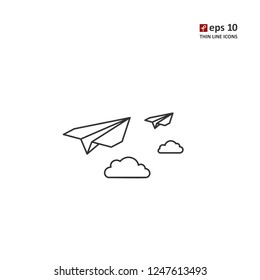 Paper plane - vector thin line icon on white background. Symbol for web, infographics, print design and mobile UX/UI kit. Vector illustration, EPS10.