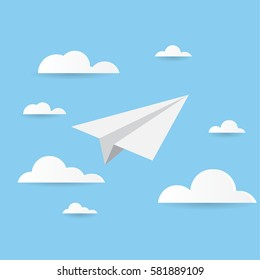 Paper Planes Background in blue sky  vector design