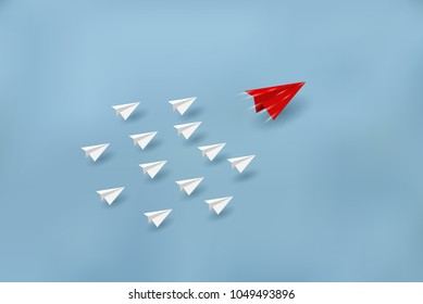Paper planes are competing to destinations. Business Financial concepts are competing for success and corporate goals. There is a high competition. start up