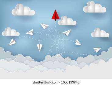 Paper planes are competition to destinations up to the sky go to success goal. business financial concept. leadership. creative idea. illustration vector. start up. paper art style