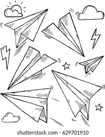 Paper Planes in doodle style , Vector Illustration