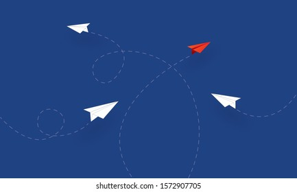 Paper planes flying in different direction, Concept inspiration business, Paper cut