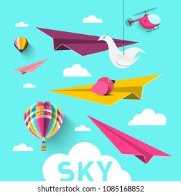 Paper Planes with Hot Air Balloons, Origami Birds, Clouds and Helicopter. Vector Blue Sky Design.