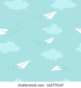Paper planes on the sky with clouds, seamless texture, vector, EPS 10