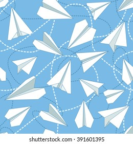 Paper planes and tangled lines seamless pattern. Repeating abstract background with origami airplanes and dashed lines. EPS8 vector illustration.