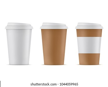 Paper and plastic coffee cup on white background. Three coffee cups with lids. Coffee Cup Mockup 3D.
