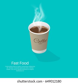 Paper or plastic glass with coffee. An isometric illustration with a shadow.3D style.Realistic element of design.Fast food.Vector illustration.