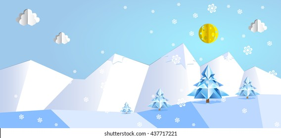 Paper pop up beautiful landscape - snow peaks, trees, snowflakes.