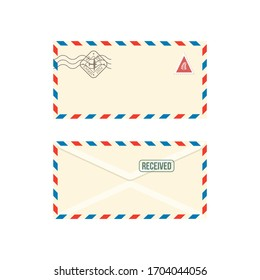 Paper postage envelope with stamps realistic vector illustration isolated on white background. Set of post stamped letters or correspondence post messages mockups.