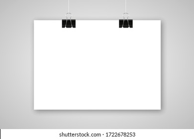 paper poster mockup template clip sign vector wall