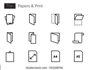 Paper and Print Line Vector icons set