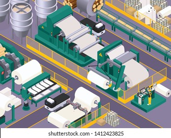Paper production background with conveyor and manufacture symbols isometric vector illustration
