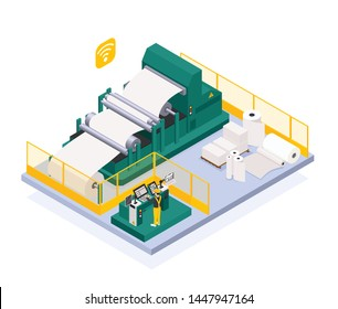 Paper production industry with newspaper and press symbols isometric  vector illustration