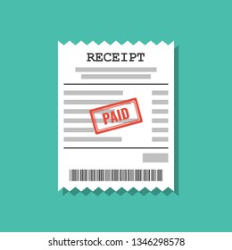 paper receipt with paid stamp, flat vector illustration