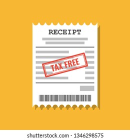 paper receipt with tax free stamp, flat vector illustration