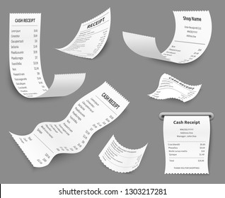 Paper receipts. Receipt print amount bill, budget buy choice cost check, cash retail document, pay price purchase cashing vector set