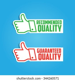 Paper Recommended and Guaranteed Vector Thumbs Up Labels