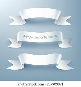 Paper ribbon banner, vector illustration. Isolated.