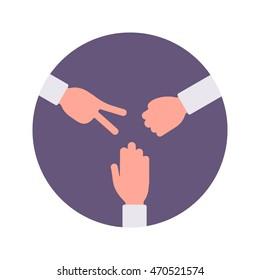 Paper, rock, scissors handsign in a purple circle. Cartoon vector flat-style concept illustration