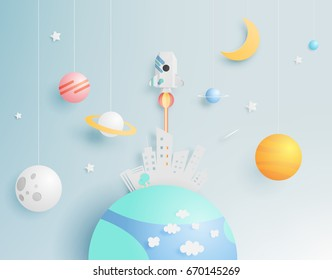 Paper rocket and solar system with pastel tone background vector illustration