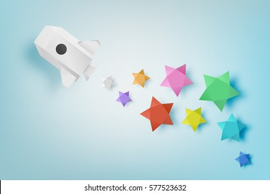 Paper rocket with star background vector illustration