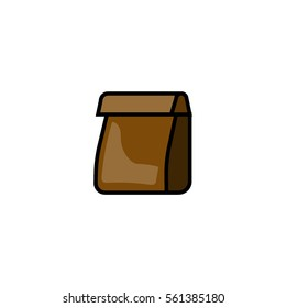 Paper sack, packet for coffee beans flat line icon