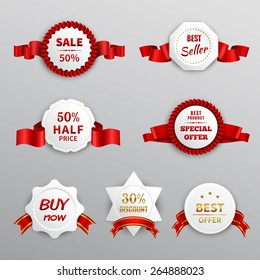 Paper sale business promotion labels set with red ribbons isolated vector illustration