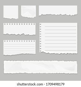 Paper scraps isolated set. Vector graphic design illustration
