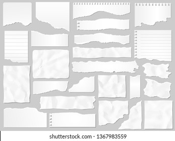 Paper scraps. Ripped papers, torn page pieces and scrapbook note paper piece. Texture page, textured memo sheet or notebook shred. Vector illustration isolated sign set