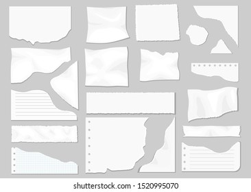 Paper scraps. Ripped paper, wrinkled paper, torn sheets, notebook paper. Page texture, textured sheet of notes or notepad. Vector illustration