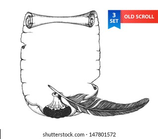 Paper scroll, feather and inkwell in a sketch style. Hand-drawn vector illustration.