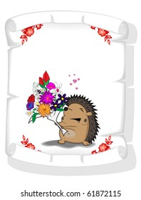 paper scroll with the image of enamoured hedgehog