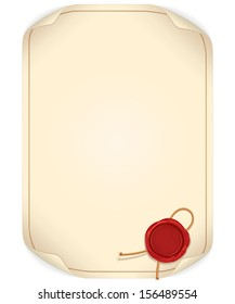 Paper Scroll with Wax Seal. Ready for Your Text and Design.