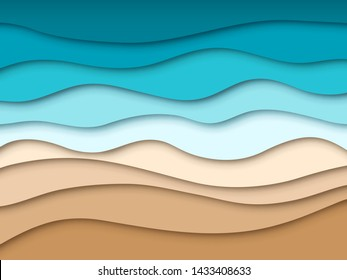 Paper sea beach. Abstract ocean summer travel landscape, summertime 3d paper cut texture. Origami cutout sandy shore, background with shadow decorations tropical blank vector wallpaper